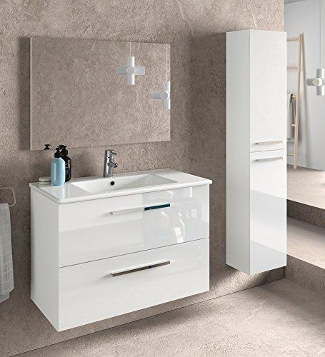 Miroytengo Juego de Mueble de baño Lavabo suspendido 2 cajones, Espejo, lavamanos...