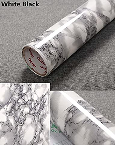 Yancorp Granite Look Marble Effect Counter Top Film Vinyl Self Adhesive Peel-Stick Wallpaper 24 X 78 inch,61cmx2m (White Black)