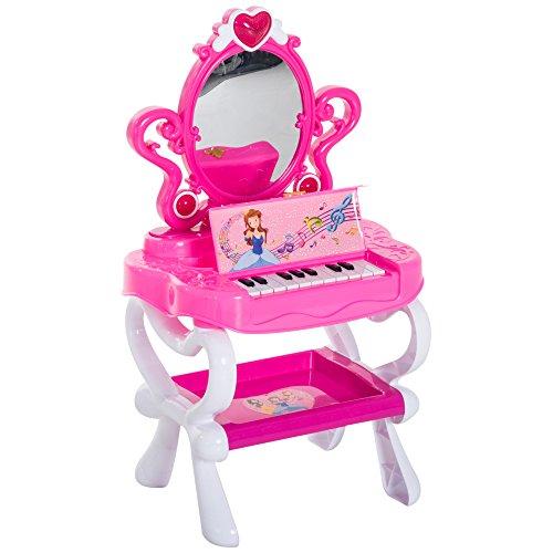 HOMCOM Kinder Prinzessin Kosmetiktisch Schminktisch Friesiertisch mit Klavier Musik und Licht 43,5×31,5×72,5cm