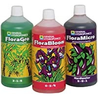 Senua-General Hydroponics Hard Warter Flora Series QT - FloraGro, FloraBloom, and FloraMicro Garden, Lawn, Supply, Maintenance 1Ltr