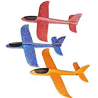 Alxcio Flying Glider Planes Toy Hand Launch Airplane Model Toy, 48cm Foam Glider Plane Flights Games for Kids Boys Girls, Ourdoor Sports Toy Set - 3 Pcs of Blue Red Orange