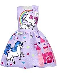 AmzBarley Girls Unicorn Costume Princess Dress Sleeveless Evening Party Dresses for Kids Halloween Christmas Birthday Dress