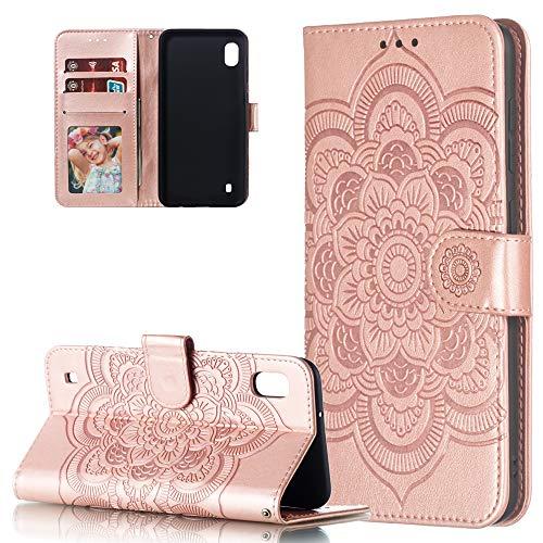 COTDINFOR Etui für Samsung Galaxy A10 Hülle PU Leder Cover Schutzhülle Magnet Tasche Flip Handytasche im Bookstyle Stand Kartenfächer Lederhülle für Samsung Galaxy A10 Rose Gold Mandala LD. A10-kamera