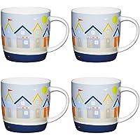 Kitchencraft Fine – casetas de Playa Barrel-Shaped Printed Mugs náuticas, 425 ML