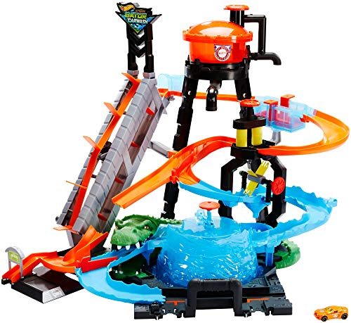 Hot Wheels FTB67 - City Ultimative Autowaschanlage mit Krokodil, Waschstation Spielset mit Farbwechseleffekt inkl. 1 Spielzeugauto und Alligator, Kinder Spielzeug ab 4 Jahren -