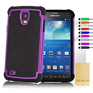 32nd Shock proof defender dual case cover for Samsung Galaxy S4 Active i9295, including screen protector, cleaning cloth and touch stylus - Purple