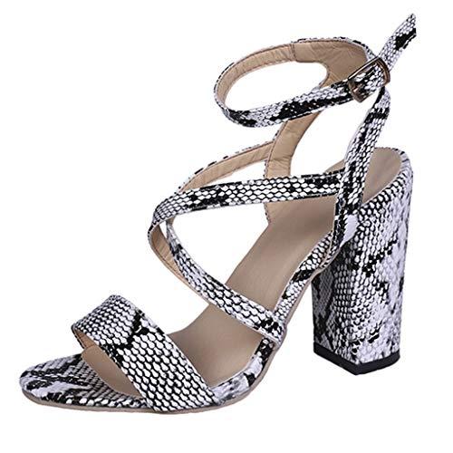 iLPM5 Damen Sommer Mode Elegant Fisch Mund Schlange Muster Schnalle Quadrat Ferse Sandalen Freizeit Open Toe High Heels Schuhe - Navy Schlange-leder Schuhe