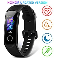 Idea Regalo - HONOR Band 5 Smartwatch Orologio Fitness Tracker Uomo Donna Smart Watch Cardiofrequenzimetro da Polso Contapassi Smartband Sportivo Activity Tracker,Nero