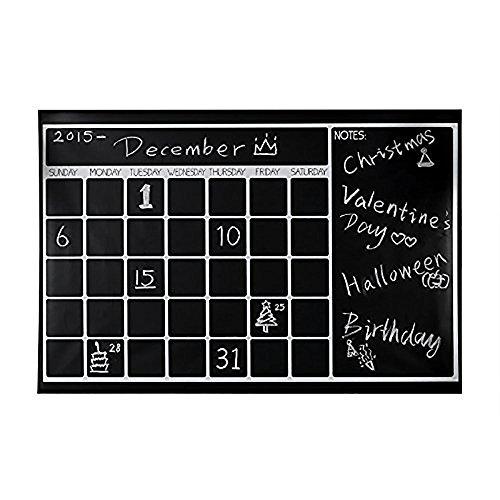 GenialES 60*90cm Calendario Pizarra de Vinilo y Adhesiva Lavable Removible para Restaurante Menú Oficina Cotizaciones de Arte Casa Cocina + 5pcs Tizas