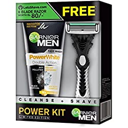 Garnier Men Power White Duo Face Wash, 100g with Free Lets Shave Razor