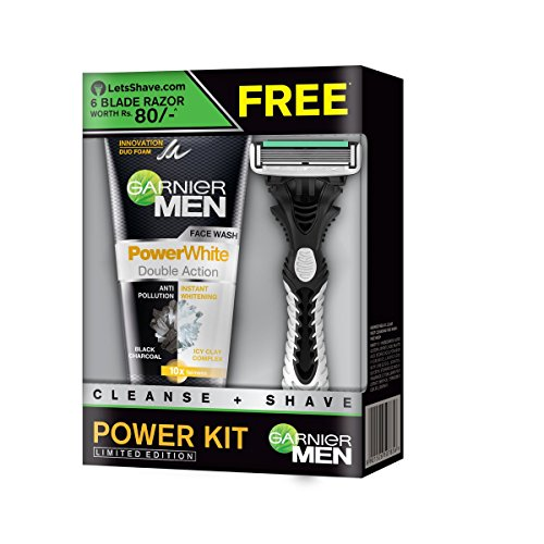 Garnier Men Power White Duo Face Wash, 100g with Free Lets Shave Razor  available at amazon for Rs.189