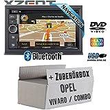 Opel Vivaro A Combo C - Autoradio Radio Xzent X-302BT-MK2 | 2-Din Navigation Bluetooth USB CD DVD Touchscreen TFT Navi Europa 47 Länder HDMI Einbauzubehör - Einbauset