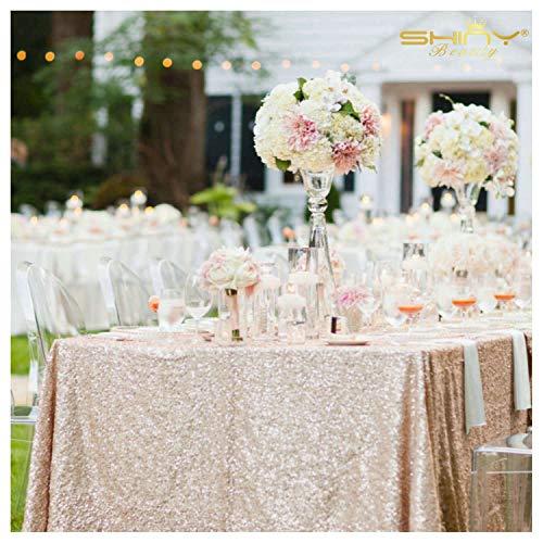 ShinyBeauty 125x180cm Handel Pailletten Champagner Glitzernden Tabelle Tuch Hochzeit Glitzer Pailletten Tischdecke
