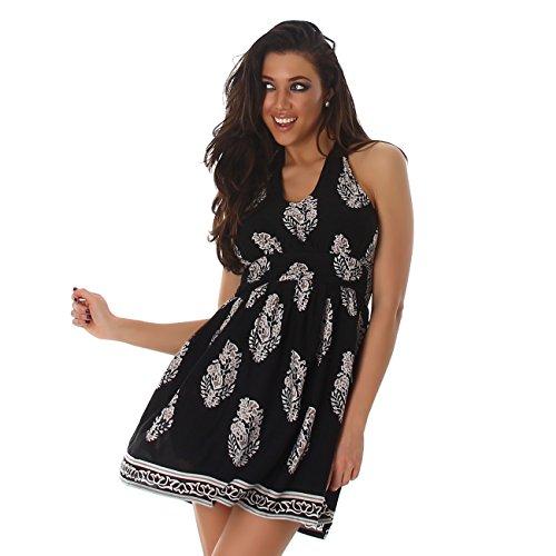 ... Voyelles Damen Kleid Minikleid Cocktailkleid Neckholder Blumen  V-Ausschnitt Partykleid Strandkleid Schwarz ...