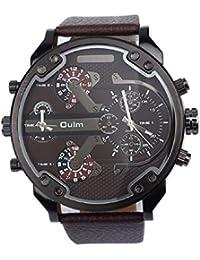Malloom® hombres lujo militar ejército dual tiempo cuarzo dial grande reloj de pulsera marrón