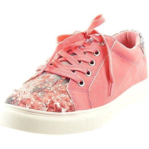 Sopily - Zapatillas de Moda Deportivos Tobillo mujer flores Talón Tacón ancho 2.5 CM - plantilla sintético - Rosa