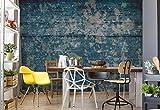 Wallsticker Warehouse Auszug gemalter Holzstruktur Blau Fototapete - Tapete - Fotomural - Mural Wandbild - (2628WM) - XXXL - 416cm x 254cm - VLIES (EasyInstall) - 4 Pieces