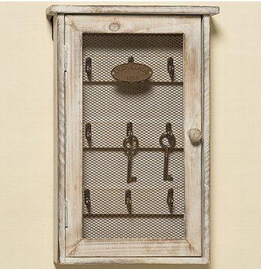 Boîte à clés Hannes Blanc/beige bois/métal