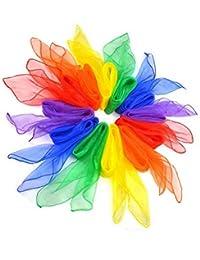 Cdet 12Pcs los 60 * 60cm Bufandas de Danza de Malabarismo Hemmed bufanda multicolora cuadrada de la venda del ritmo