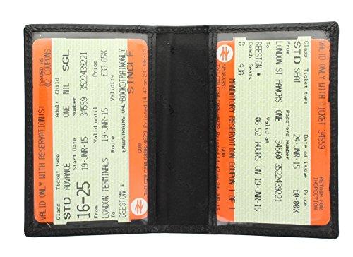 Portatarjeta de viaje compacto de cuero suave 7cm x 10cm x 0,5cm. Interior tiene 2 paneles de plástico transparente que hacen tarjetas fotográficas y billetes de viaje fácilmente visible. Repujado con el logo Visconti. Forro de tela de marca Visconti