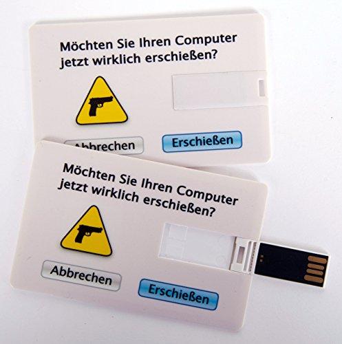 """Witziger USB Stick im Visitenkartenformat, Scheckkarte, Kreditkarte, 4 GB, """"Möchten Sie Ihren Computer jetzt wirklich erschießen?"""", ideal als Datenspeicher oder Geschenk"""