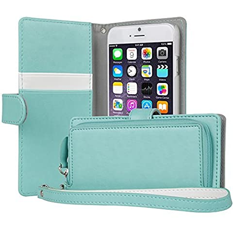 iPhone 6S Case, TORU [iPhone 6S Zipper Wallet Case] Card Slot Holder Magnetic Flip Cover with Zipper Pocket and Wrist Strap for iPhone 6S / iPhone 6 - Mint