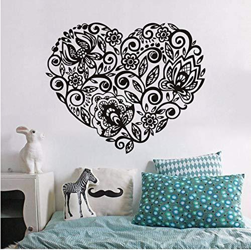 (Lvabc Herzform Blumen Muster Wandaufkleber Abziehbilder Valentine Klebstoff Pvc Wall Paper Mädchen Frauen Paare Schlafzimmer Hochzeit Raumdekor)
