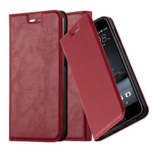 Cadorabo Hülle für HTC ONE A9 - Hülle in Apfel ROT - Handyhülle mit Magnetverschluss, Standfunktion & Kartenfach - Case Cover Schutzhülle Etui Tasche Book Klapp Style