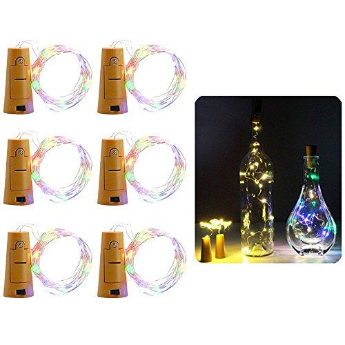 (Centtechi Lichterkette in Korkenform für Weinflaschen, 6erPack, 20LED-Lichter auf Draht für Dekoration, DIY, Party, Hochzeitsdekorationen, Weihnachten, Urlaub, Schlafzimmer, 2 m, batteriebetrieben mehrfarbig)