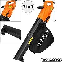 Monzana® Laubsauger 3 in 1 Elektro Laubbläser 3000W mit Schultergurt und Rollen Fangsack 45L Gebläse Häcksler Gartensauger Gartenbläser Blasgerät