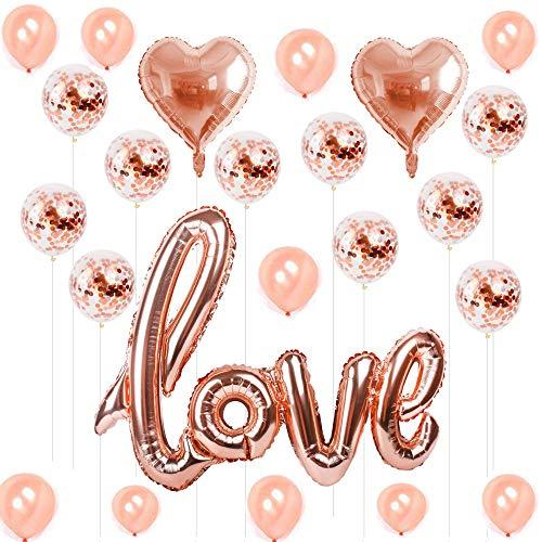 Hotchy Luftballons Rose Gold, 23 Stück Love Hochzeit Herzluftballon Folienballon für Hochzeit Party Geburtstag Dekoration Brautdusche, Baby-Dusche Valentinstag, Muttertag
