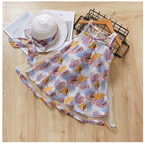 wuayi  Baby Mädchen Kleider, Mädchen ärmellose Feder Blatt Print Prinzessin Kleider + Hüte Strandkleid Dresses Sommerkleidung Outfits 1-5 Jahre