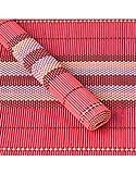 Untersetzer verwendet werden Natürliche Bambus Ethnischen Design Tischset mit Sechs Einheiten Haus und Mehr - Rote