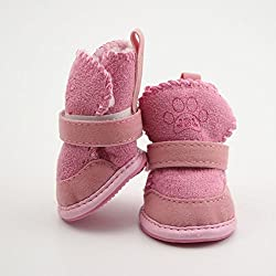Pink, Size 3 : Lovely Pets Winter Warm Shoe Soft Cozy Cotton Boots Shoes Dogs Cats Puppy Snow Boots 4Pcs/lot