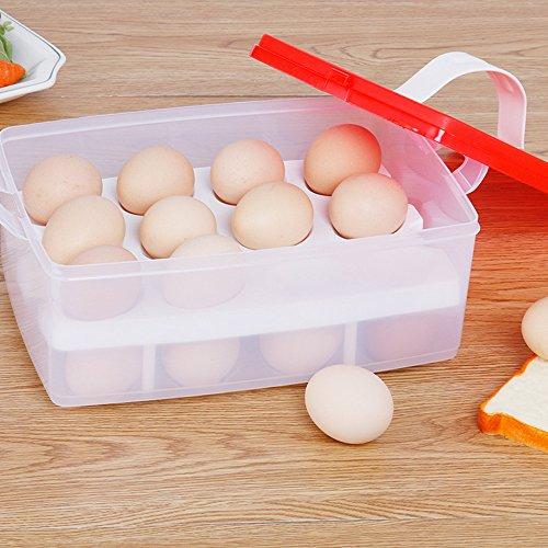 24Eier Organizer–Küche Ei Aufbewahrungsbox Organizer Kühlschrank Aufbewahrung von Ei Outdoor tragbar Behälter Aufbewahrung rot
