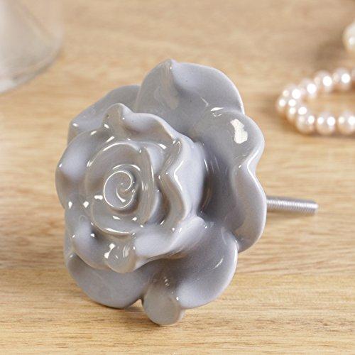 Fabulous grau Keramik Rose Schublade Pull Schublade Knauf, exzellente Ergänzung eine Kommode, Schrank oder Stauraum. Ideal für Aktualisierung Stück Möbel. Dia 7cm, Länge der Schraube 5cm