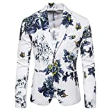 Auiyut Herren Anzugjacke Blumendruck Sakkos Smokingjacke Bunte Anzugjacke Floral Blazer Reverskragen Party Sakko Soft für Hochzeit Abschlussball Abend Fasching Sakko M-3XL