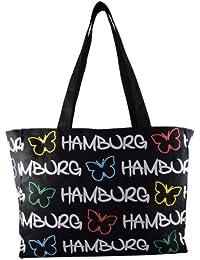 108842e7a9119 Robin Ruth Canvas Schultertasche Hamburg Schmetterling in schwarz (Maße   LxHxT 36x28x11cm)
