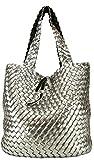CASAdiNOVA Damen Wendetasche XXL Flecht-Optik Shopper Handtaschen Set 2 Taschen 2in1 Große Tasche Schwarz Grau Bag in Bag