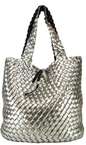 879389ad947ef CASAdiNOVA Damen Wendetasche XXL Flecht-Optik Shopper Handtaschen Set 2  Taschen 2in1 Große Tasche.