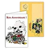 Gaston Lagaffe glct-6063Geburtstagskarte für alle Alters Zeichnung Vintage Original mit Motorrad-Motiv Mechanische