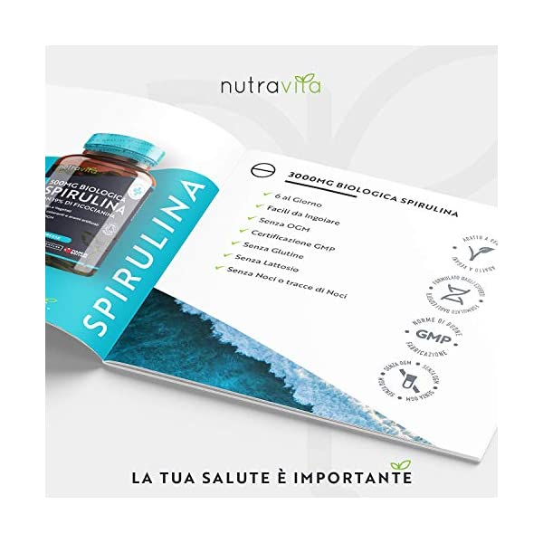 Spirulina Biologica 3000 mg con Ficocianina Grezza 19% - 600 Compresse Vegane - 500mg con Compresse - Prodotto biologico - Prodotto nel Regno Unito da Nutravita 4 spesavip