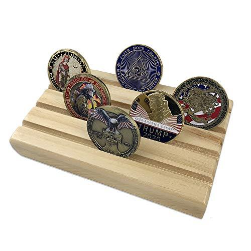 AtSKnSK 4Zeilen Military Challenge Coin Display Rack Halter Ständer aus Holz für 12-16Münzen Collectible (Eiche Finish)