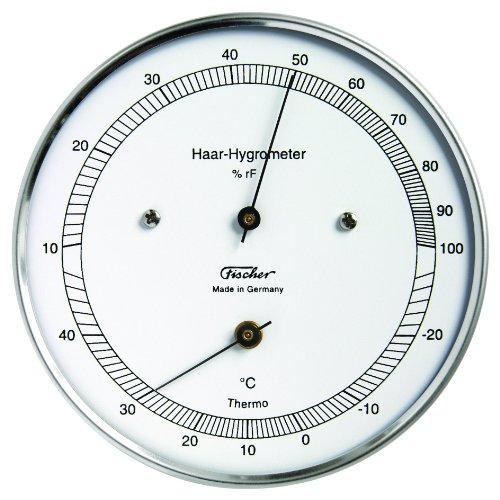 Fischer 528203 Thermometer mit Hygrometer, silber