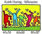 Druck auf Leinwand 100 % Qualität aus Italien–Keith Haring–Silhouette Gemälde-Effekt Geschenkidee Haus Bild für Küche Schlafzimmer Wohnzimmer 60x88