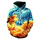 GEFANENR 3D Sweatshirts Men/Women Hoodies with Hat Print Surging Creative Waves Hooded,Picture,4XL