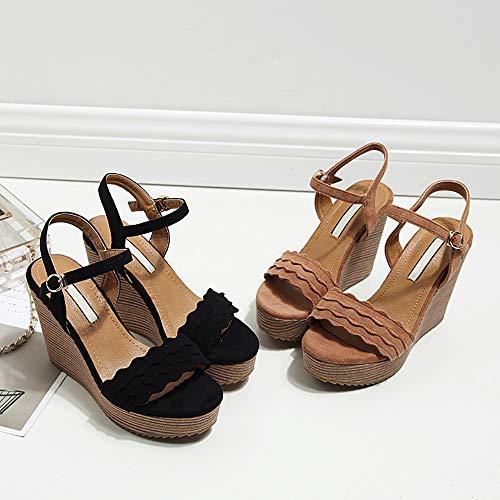 Lixibei Schwarze Sandalen für Damen, Keilsandalen für Damen Plateausandalen Klassische, legere und Bequeme Sandalen,Black,39 Studded Wedge Heels