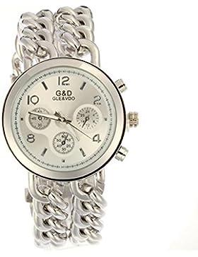 Damen Modeuhr Armreifen Armkette Uhr Damenuhr SILBER Armbanduhr