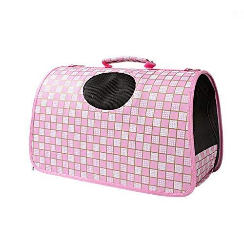 YOCC Haustierrucksack, faltbar/tragbar/aufbügelbar/mit Mesh/atmungsaktiv für Outdoor-Brusttasche Geeignet für Katzen und kleine Hunde 6 kg, pink kariert,L