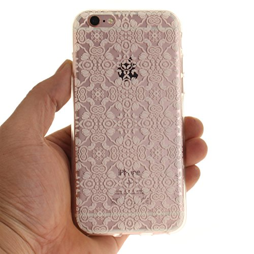 iPhone 6S Hülle,iPhone 6 Hülle,iPhone 6 6S Silikon Hülle [Kratzfeste, Scratch-Resistant], Cozy Hut iPhone 6 6S (4,7 Zoll) Hülle TPU Case Schutzhülle Silikon Crystal Kirstall Clear Case Durchsichtig, F Weiße Spitze